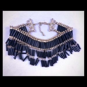 Black beaded chandelier Indian choker necklace